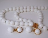LAST CHANCE SAE Vintage Set of Monet Plastic Faceted White Beaded Chain Necklace and earrings