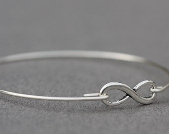 SALE TODAY Infinity Silver Bangle Bracelet- Infinity Silver- Minimalist Jewelry- Personalized Custom Bangle- Bridesmaids Gift Ideas