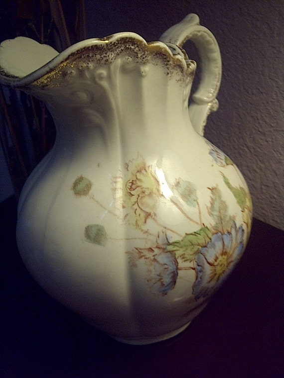 SALE Beautiful Hand Painted Pitcher by H Poppy Porcelain