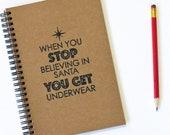 Funny Notebook Santa Claus Underwear Stocking Stuffer Hand Stamped Spiral Journal Christmas Gift