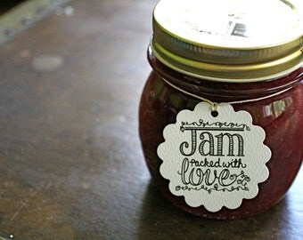 Wedding favor tags, canning tags, 50. Jam Packed with Love design, hearts and berries. Perfect for jam jar favors.