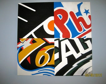 Custom order Kelsanchez 24x24 Original Philadelphia Sports Team Logo Canvas