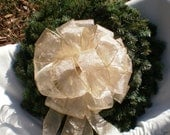 Huge Christmas Tree Topper Bow - Golden Sheer Shine Luminescent Layers Bow - Four Matching Trails each 41 Inches Long