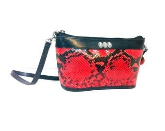 Red Snake Skin Bag - Brighton Bag - Crossbody Saddle Bag