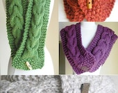 "Knitting Pattern -- Cabled Scarf and Cowl Combo -- ""Lucky Horseshoes"" -- PDF Pattern -- Perfect for Making Last-Minute Gifts"