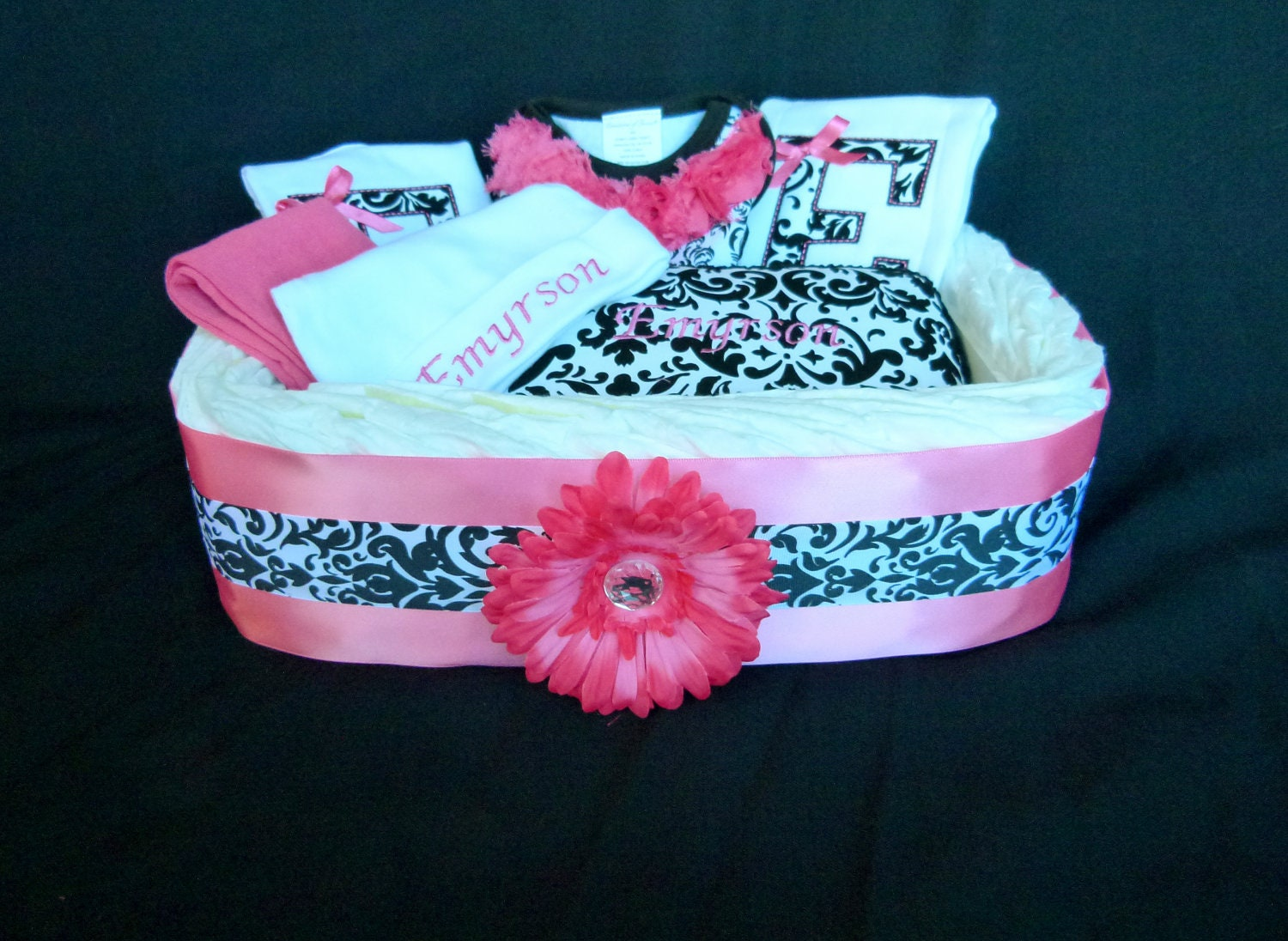 Baby Gift Basket Diapers : Personalized monogram baby girl diaper gift basket by