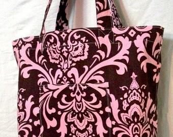 Simple handmade shopping bag - large tote bag - Brown and Pink Damask