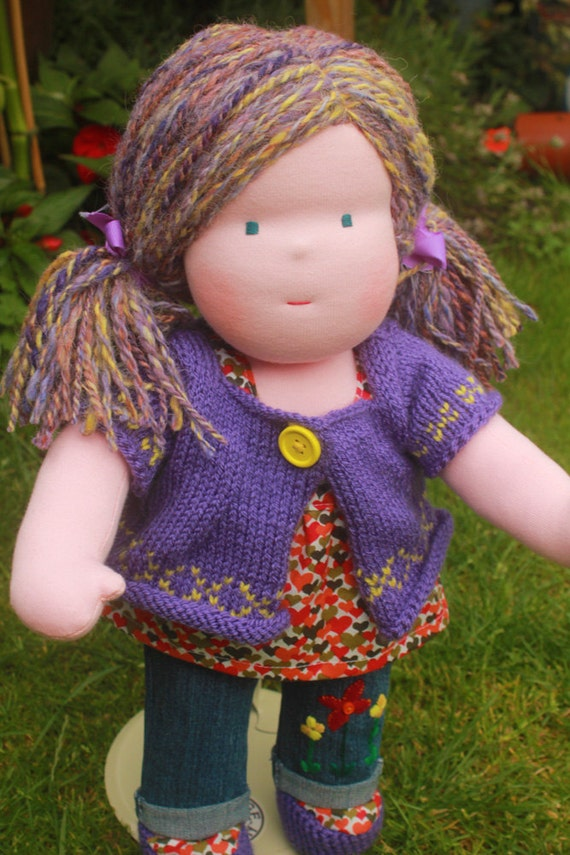"Waldorf doll called Tansi , she is 16"" tall , cloth soft doll. ooak"