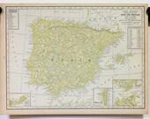 Spain & Portugal Vtg Map, 1928