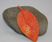 Embroidered Brooch Autumn Leaf - Crewel work inspired