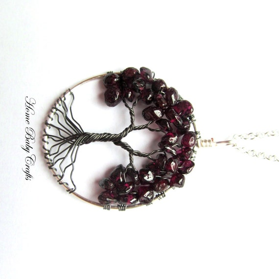 "Tree Of Life Necklace in Garnet ""Red Maple"" Wire Tree, Burgundy, Silver, Gunmetal, January"