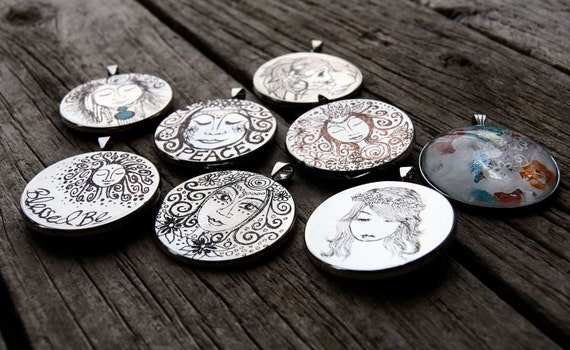 The Lot. Pendants, Hand Engraved, Double Sided, Silver Plated, Clay, Glass.