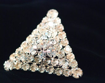 Rhinestone Pave Brooch HUGE Pendant Domed Pyramid 3D Triangle