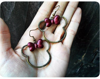 Minnie Mouse Bronze Earrings