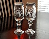 Wedding Redneck Wine Glass Mr and Mrs Toasting Mason Jar Hillbilly Wine Glasses