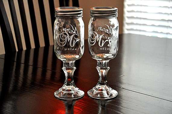 Items Similar To Wedding Redneck Wine Glass Mr And Mrs