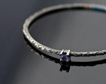 Black Sterling Silver & Amethyst Bangle - Modern Sterling Silver Bracelet