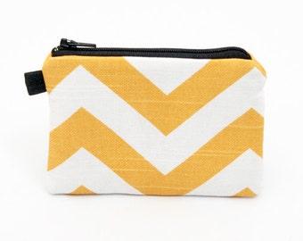 Coin purse padded zippered pouch, ipod nano case - yellow chevron