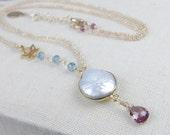 Bezel Set Coin Pearl Necklace - Lotus Flower Charm Necklace - Garnet Necklace