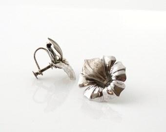 Sterling Silver Flower Screw Back Earrings