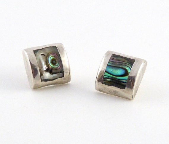 Sterling Silver Square Abalone Post Earrings