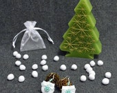 Mint romance - Romantic white felt earring with mint beads and light mint bow - Gift idea - Free shipping within the UK