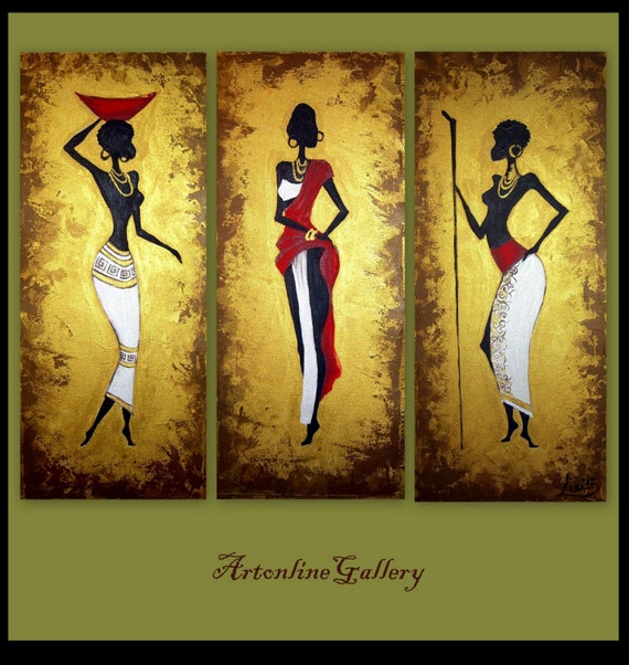 Unavailable listing on etsy for African mural painting