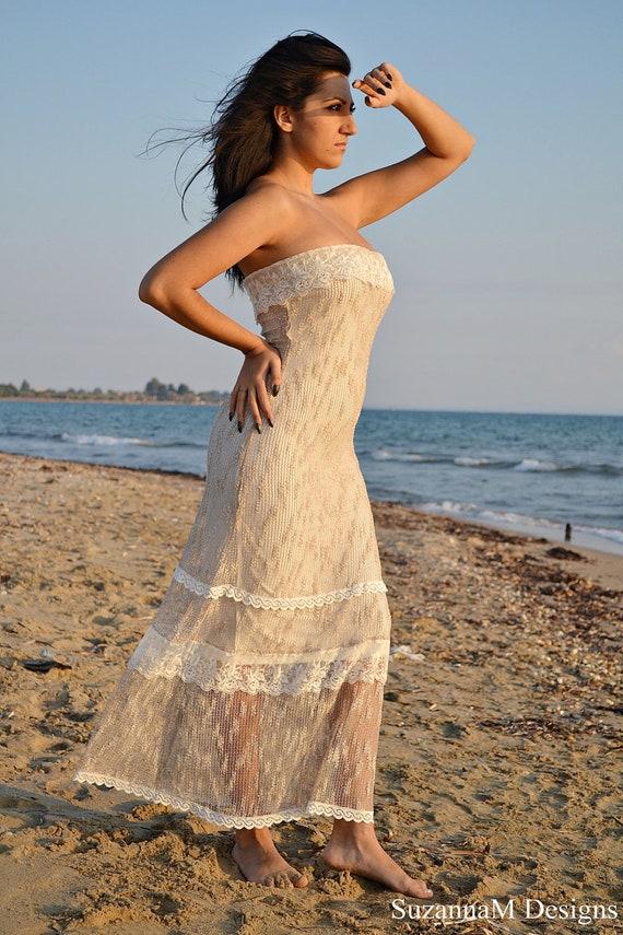 Beach Wedding Dress Net Bohemian Bridal Gown