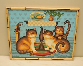 Vintage Three Tabby Cats with Goldfish Paint by Number Large 16x20