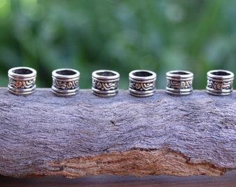10 Tibetan Silver DREADLOCK BEADS 7mm Hole DREAD Hair Beads