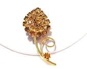 Topaz Vintage Rhinestone Flower Pin Brooch