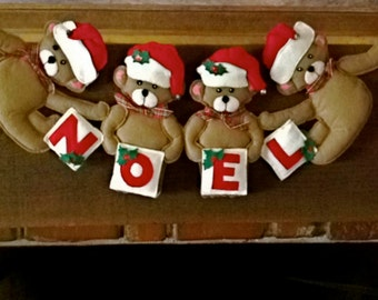 vintage Christmas banner: Christmas bears, NOEL banner