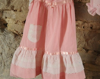 Vintage pink baby dress, Bridesmaid or baptism christening dress / party dress 1970s Beautiful pink baby dress with bloomers shorts