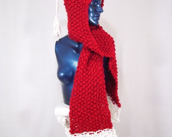 Red Riding Hoodie Scarf- Scoodie- Hooded scarf In Red & White. Pet, Smoke, and Fragrance-free