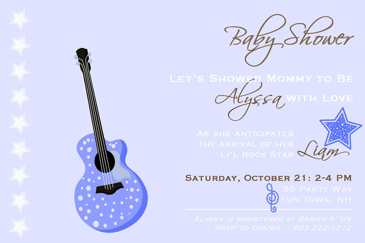 baby shower invitation rock star baby by asyouwishcreations4u. Black Bedroom Furniture Sets. Home Design Ideas