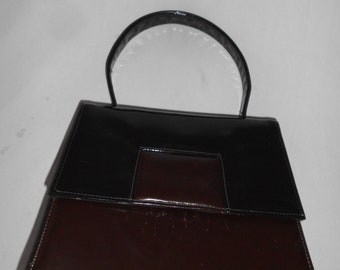 vintage 1960s  Black & Brown Patent Leather Purse made in USA