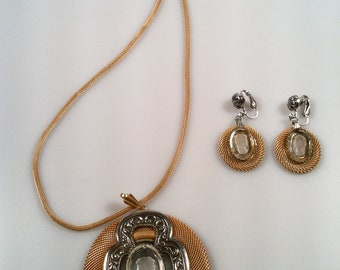 CAMEO Intaglio Necklace and Earring Set by Pcraft JEWELRY Set Clear Glass  w/ Tag Demi-Parure NOS 1960s Vintage