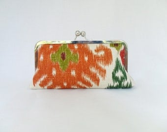 Orange Cream Green Clutch