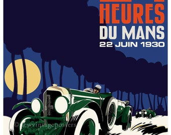 Art Deco Bentley Le Mans giclee poster print