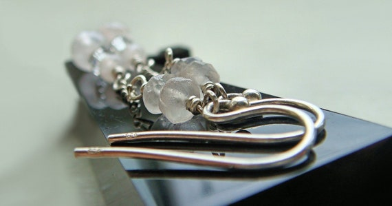Long sterling silver, gemstone, earrings, rose quartz crystal, semi precious jewelry, pink earrings, Swarovski stone, 925 silver jewellery
