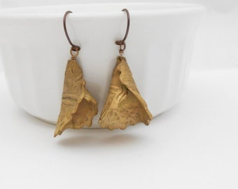 Metal Clay Earrings, Bronze Pasta Earrings, Ruffled Cone, Niobium