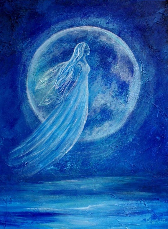 Water Angel-Original 8 x 10 Fine Art Modern Print, Acrylic Blue-Elemental Earth Angel of Water,Inspirational-Ocean-Moon Painting-Wall Art