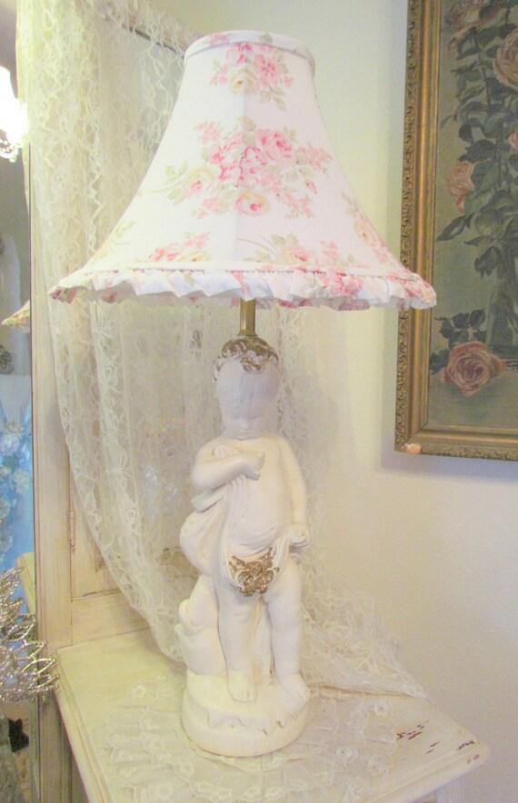 Sweetest Shy Girl Cherub Lamp Cream and Gold Chalkware