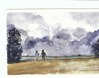 Art Watercolor Painting Landscape Before the Storm, Original Painting, Charity African Landscape, Storm Clouds and Children Watercolor