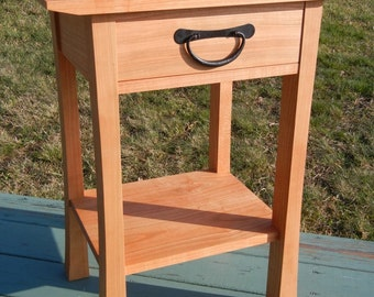 Cherry side table with drawer