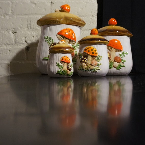 Ceramic Mushroom  Canister Kitchen Set
