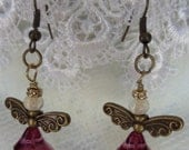 Angel Earrings in violet and bronze with Czech trumpet flowers