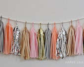 Melon Fizz Tissue Tassel Garland - Includes 16 Tassels & Rope