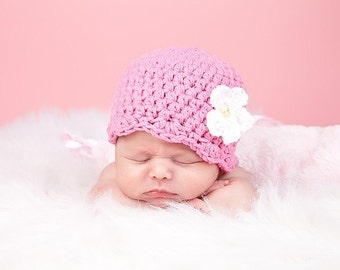 Pink Baby Hat Newborn Baby Girl Hat Flapper Beanie Flapper Hat White Flower Crochet Flower Hat Photo Prop Baby Girl Clothes Pink