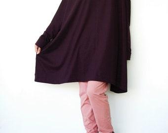 NO.62 Plum Cotton Jersey Oversized T-Shirt Tunic Sweater, Women's Top